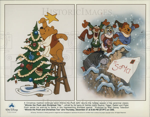 Winnie The Pooh And Christmas Too.1996 Press Photo Winnie The Pooh And Christmas Too Eeyore Tigger Rabbit Piglet