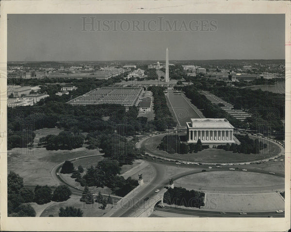1964 Press Photo Aerial view of Washington D.C. from poin over Potomac River - Historic Images