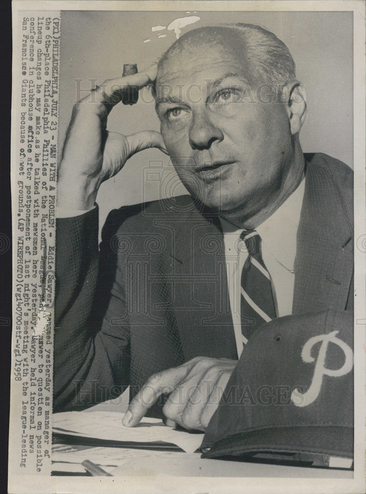 1958 Press Photo Eddie Sawyer manager of the Philadelphia Phillies - Historic Images
