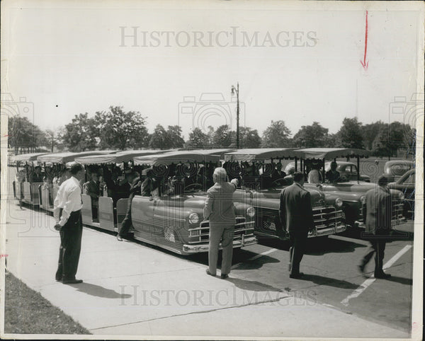 1957 Press Photo Childrens trains at Belle Isle,Mich - Historic Images