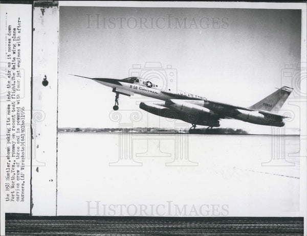 1956 Press Photo The B58 Hustler aircraft with 4 jet engines - Historic Images