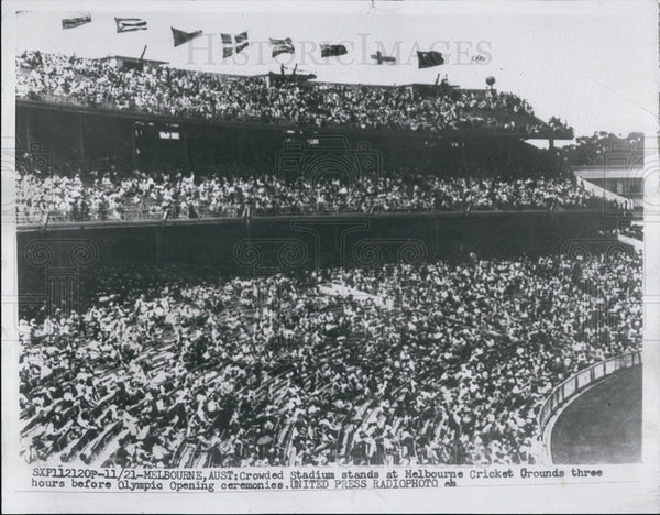 1956 Press Photo Crowded stadium in Melbourne Australia Opening of Olympics - Historic Images