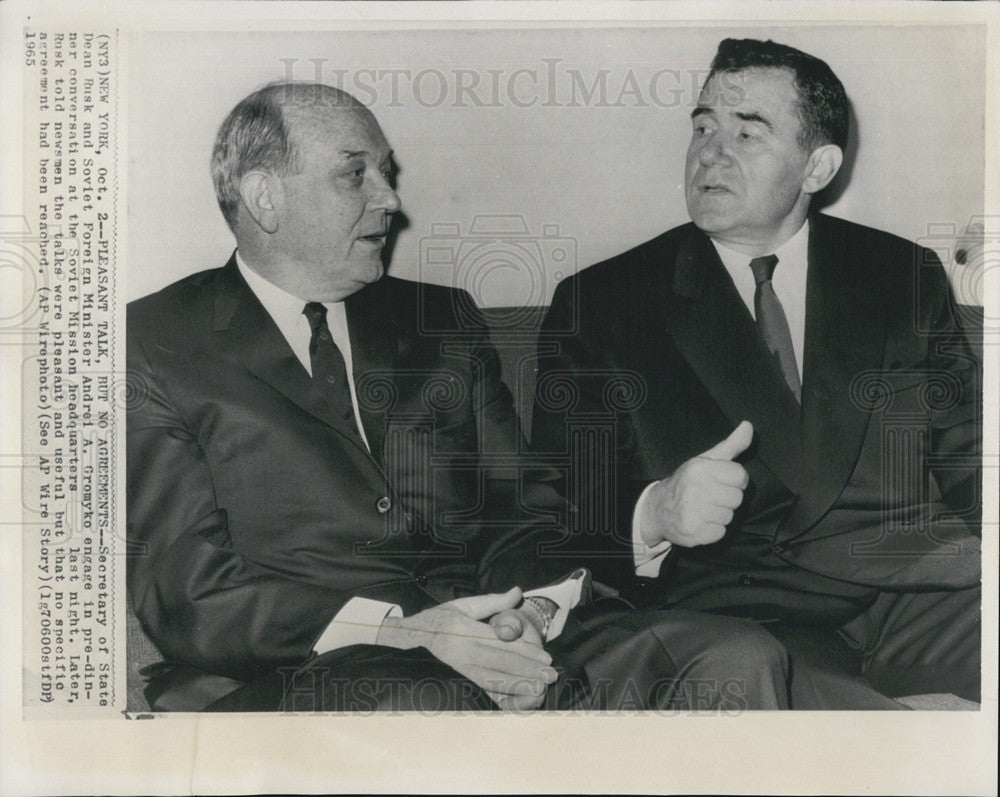 1965 Press Photo Secretary of State Dean Rusk and Soviet Foreign Minister - Historic Images