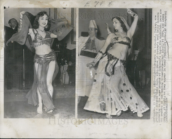1954 Press Photo Dancing girls of Turkey - Historic Images