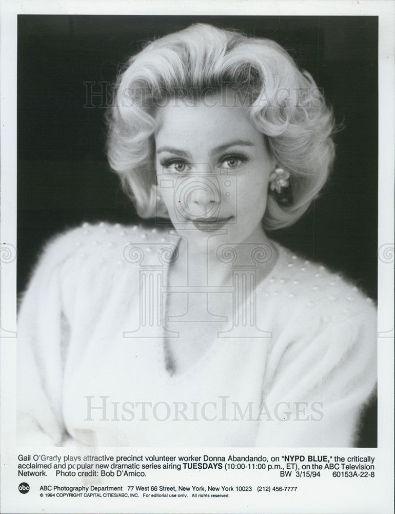 "1994 Press Photo Gail O'Grady ""NYPD Blue"" - Historic Images"