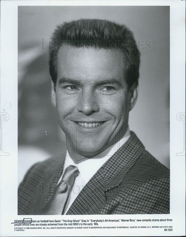 "1988 Press Photo Dennis Quaid in ""Everybody's All-American"" - Historic Images"