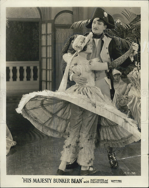 "1925 Press Photo Matt Moore & Dorothy Devore in ""His Majesty Bunker Bean"" - Historic Images"