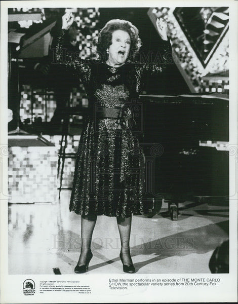 "1957 Press Photo Ethel Merman on ""The Monte carlo Show"" - Historic Images"