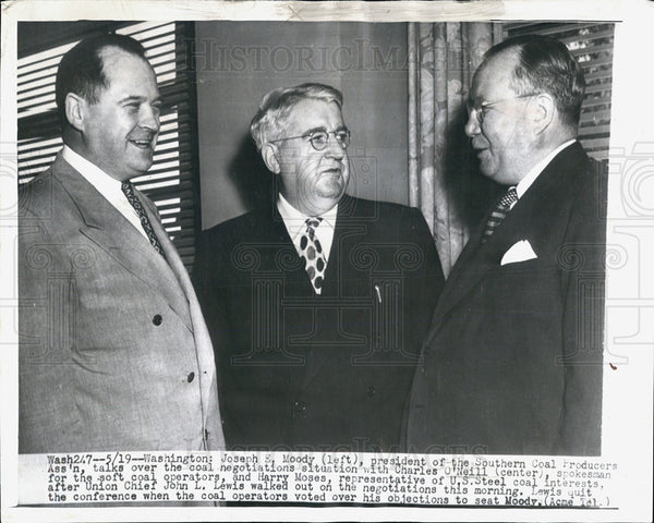 1949 Press Photo Coal Labor Leaders Joseph Moody Charles O'Neill Harry Moses - Historic Images