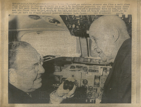 1967 Press Photo William Price, Aviation Pioneer. and John Casey Airport Manager - Historic Images