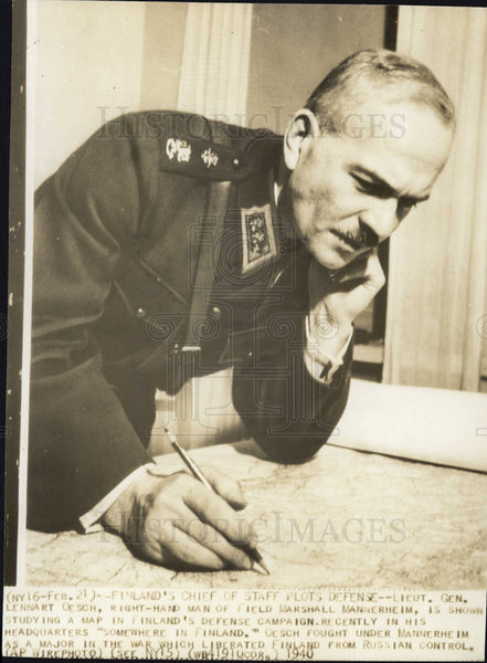 1940 Press Photo Finland Chief Staff Lieutenant General Lennart Oesch - Historic Images