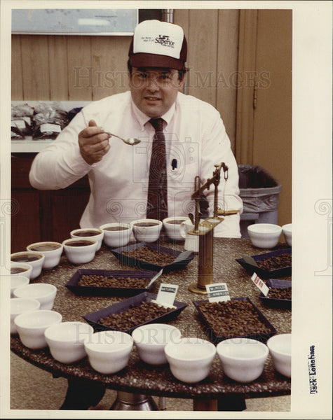 Press Photo Tim Suwalski quality control manager Superior Coffee Foods - Historic Images