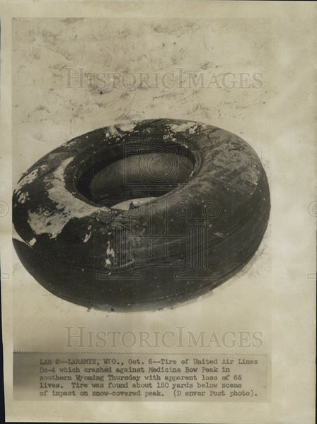 1955 Press Photo Tire of United Air Lines DC-4 that crashed in Medicine Bow Peak - Historic Images