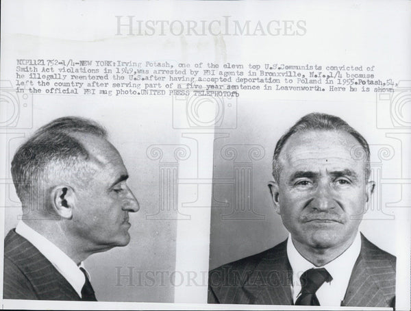 Press Photo Irving Potash US Communist Convicted of Smith Act Violations - Historic Images