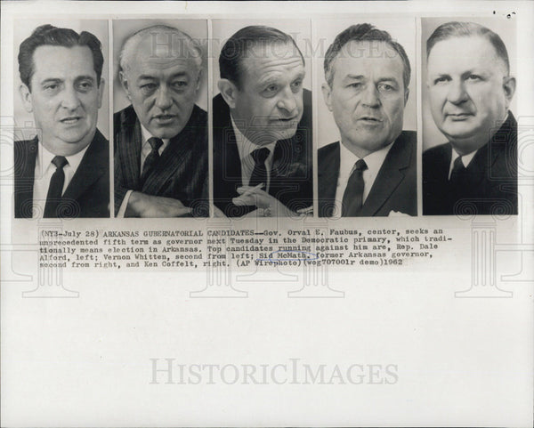 1962 Press Photo Gov Orval Faubus Rep Dale Alford Vernon Whitten  Sid McNath Ken Coffelt - Historic Images