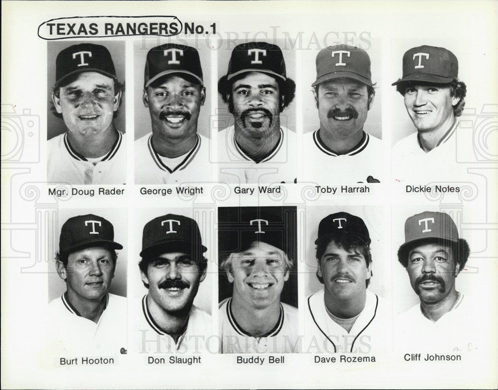 1987 Press Photo Texas Rangers roster George Wright Don Slaught Buddy Bell  - Historic Images