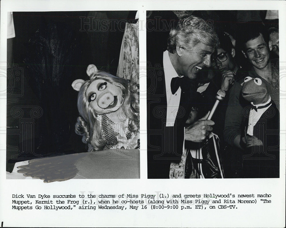 1979 press photo dick van dyke greeting muppets ms piggy and kermit 1979 press photo dick van dyke greeting muppets ms piggy and kermit the frog m4hsunfo