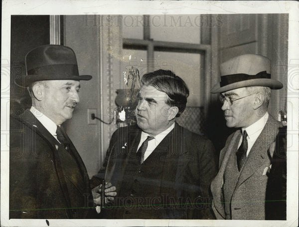 1935 Press Photo Edward F. McGrady, John L. Lewis and Earl Houek - Historic Images