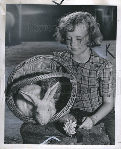 1954 Press Photo Mary Hunsberger at Livestock St. Fair, Michigan - Historic Images
