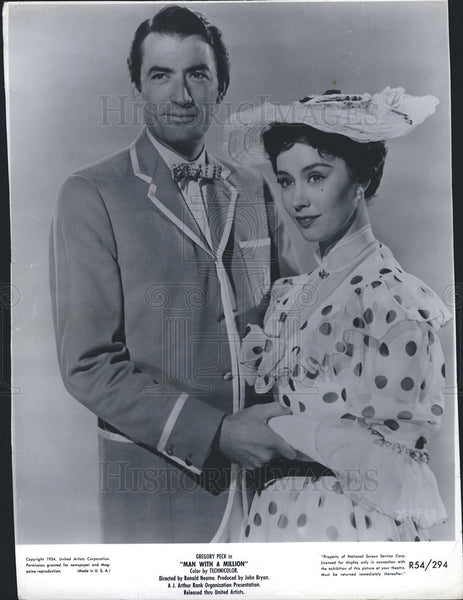 "1954 Press Photo Gregory Peck And Jane Griffith in ""Man With A Million"" COPY - Historic Images"