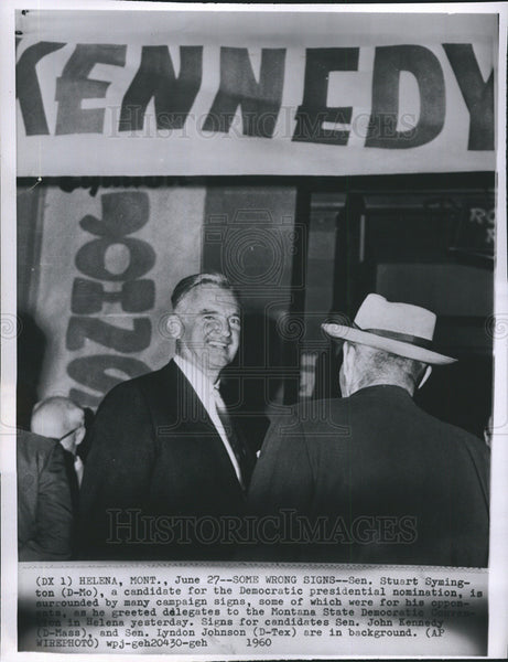 1960 Press Photo Sen Stuart Symington D-MO Candidate For Dem Presidential Nom - Historic Images