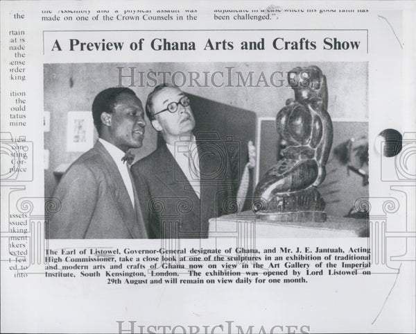 Press Photo Earl Listowel Governor-General Ghana Mr. Jantuah sculpture art - Historic Images