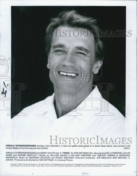 1988 Press Photo Arnold Schwarzenegger Actor Twins - Historic Images