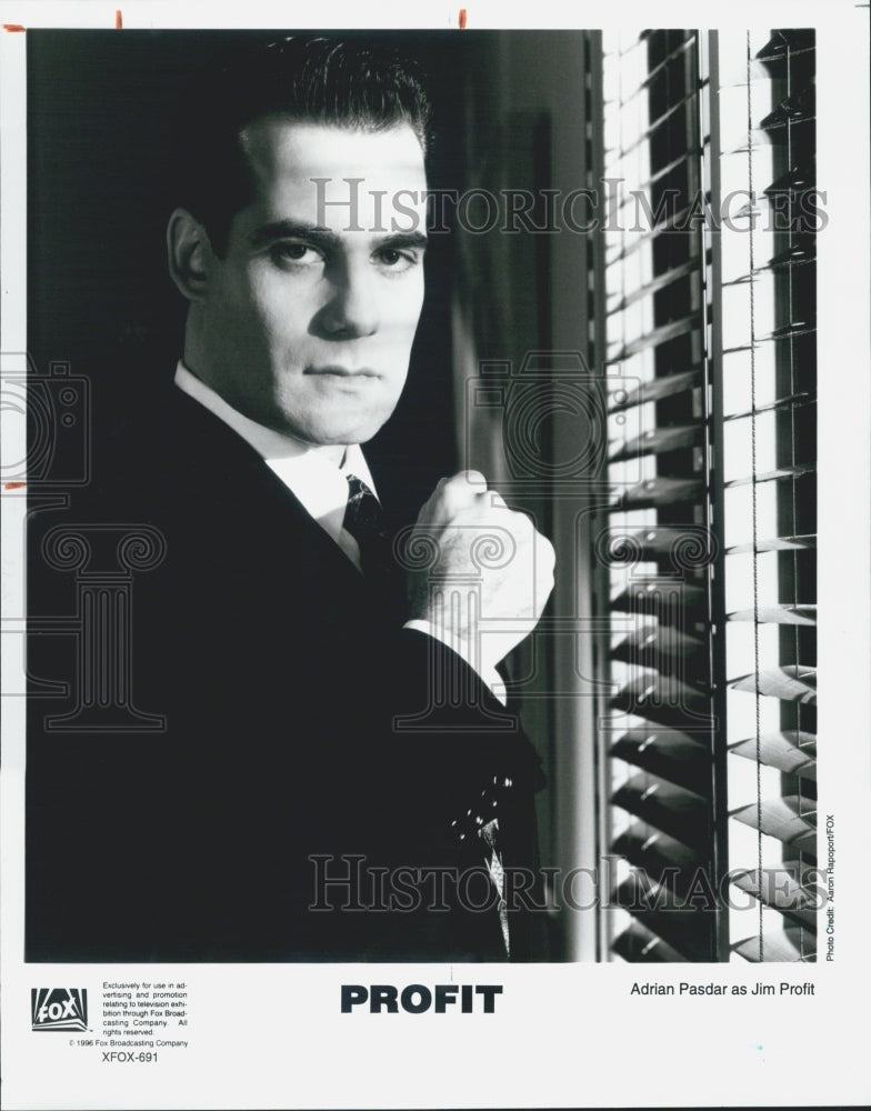 "1996 Press Photo Actor Adrian Pasdar ""Profit"" FOX TV Brian Greenwalt B&W - Historic Images"