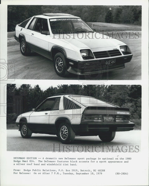 1979 Press Photo 1980 Dodge Omni 024 DeTomaso Edition Front Rear Views - Historic Images
