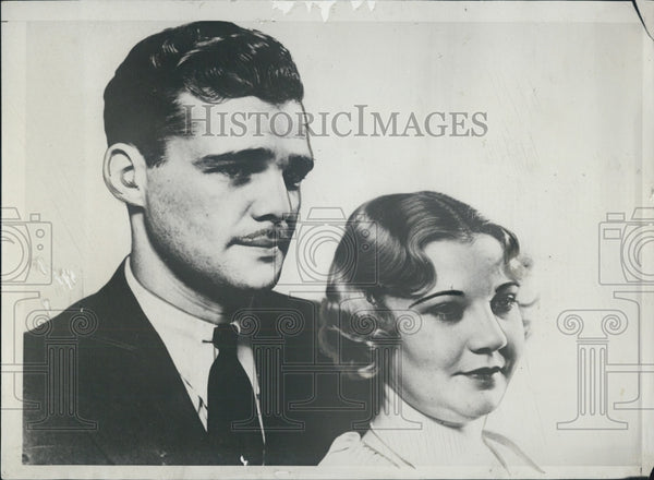 1932 Press Photo Una Merkel actress husband Ronald Burla aeronautical engineer - Historic Images