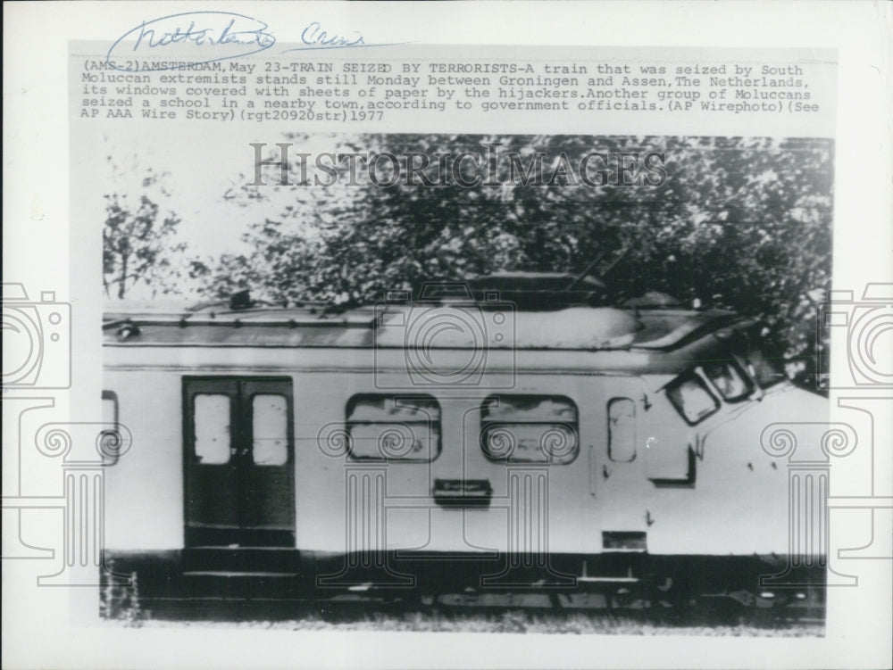 1977 Press Photo of train seized by South Moluccan extremists in Netherlands - Historic Images