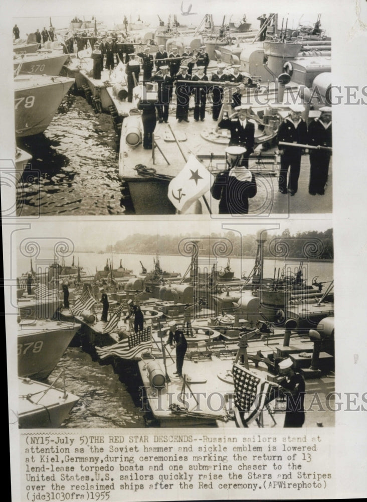 1955 Press Photo Russian Sailors stand at Soviet Hammer in Germany - Historic Images