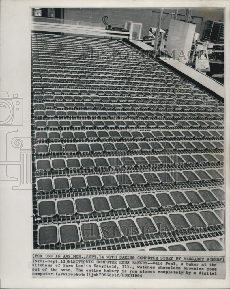 1964 Press Photo Computer Runs Sara Lee Bakery - Historic Images