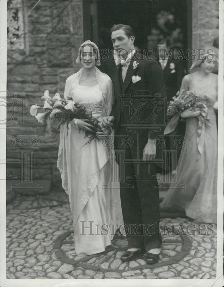 1932 Francis Shields tennis player married Miss Rebecca Williams - Historic Images