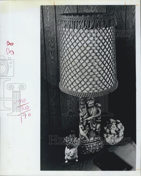 1971 Press Photo Handmade Crochet Lampshade Fringe Lamp - Historic Images