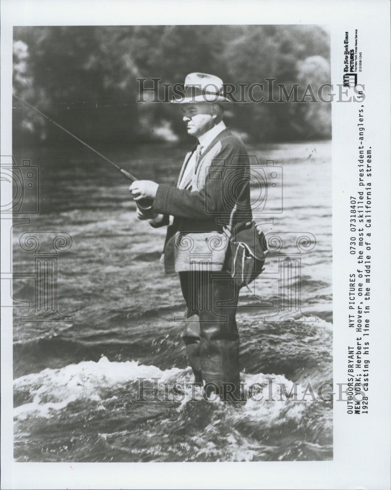 1928 Herbert Hoover Casting His Line In Middle Of California Stream - Historic Images