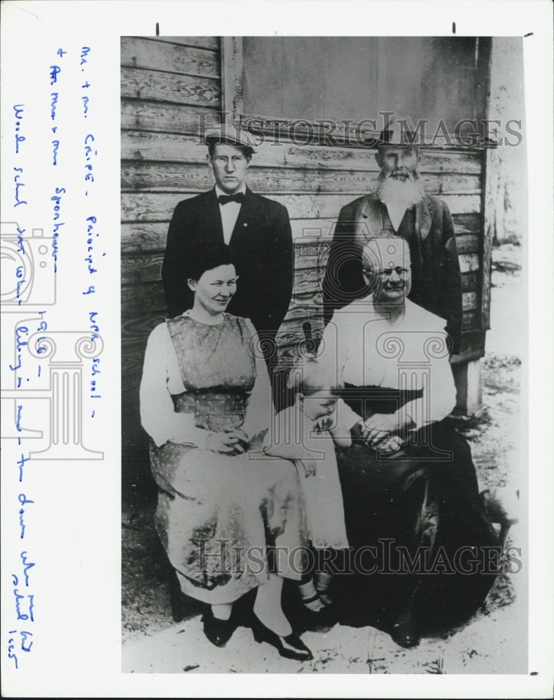 1916 School Principal Mr. Cripe, Wife, and Mr. and Mrs. Sponhower - Historic Images