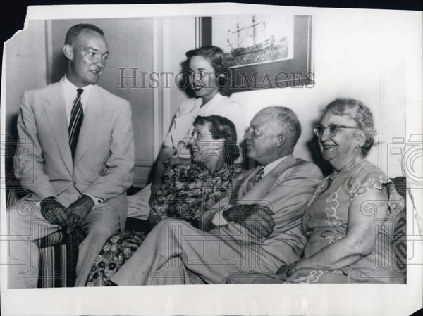 1952 Mr & Mrs Eisenhower entertain their son, Maj. John Eisenhower, - Historic Images
