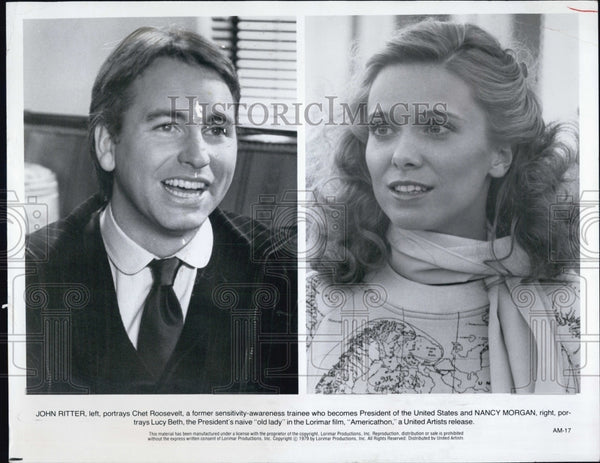 1979 Press Photo Actor John Ritter Nancy Morgan Movie Americathon - Historic Images