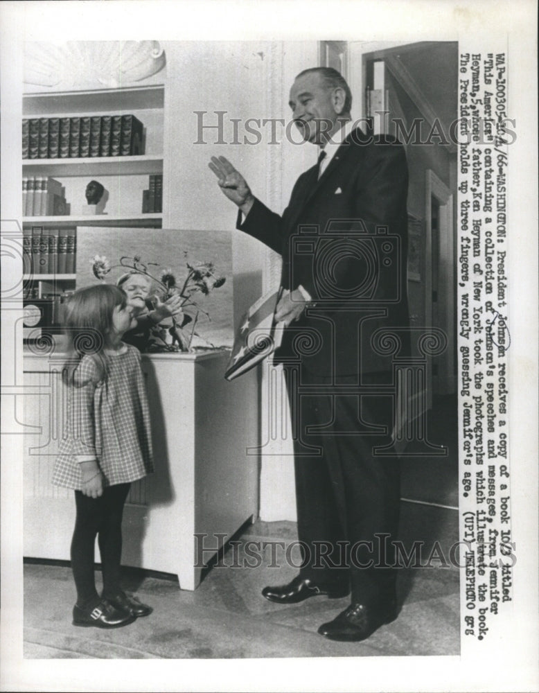 "1966 Press Photo President Johnson Receives Copy of Book Titled ""The America"" - Historic Images"