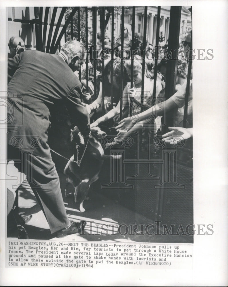 1984 Press Photo President Johnson Pulls Up his Pet Beagles - Historic Images