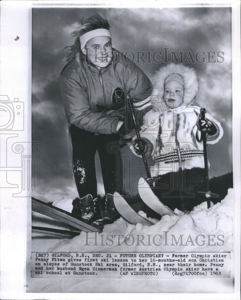 1963 Press Photo Olympic Skier Penny Pitou Teaches Her Son Christian To Ski - Historic Images