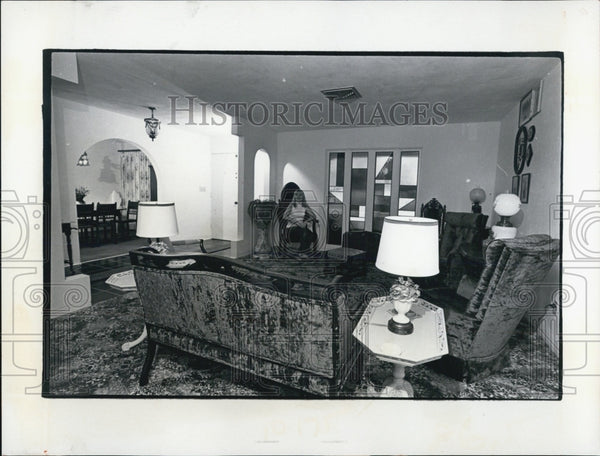 1974 Press Photo The Schroeders' Living Room Full Of Antiques And Stained-glass - Historic Images