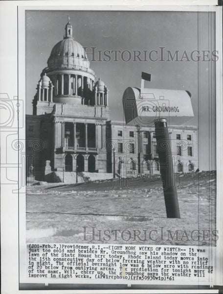 1961 Press Photo Providence RI Statehouse and Mr Groundhog - Historic Images