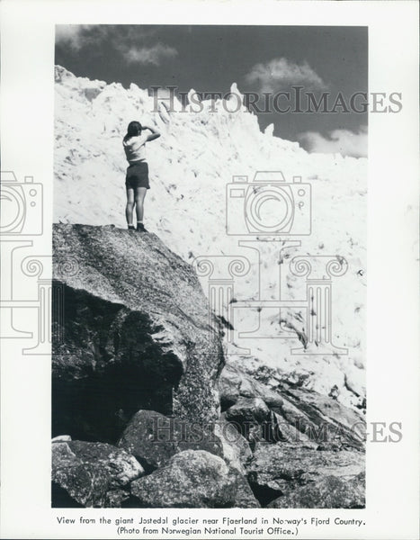 1984 Press Photo A view from giant Jostedal glacier near Fjaerland in Norway - Historic Images