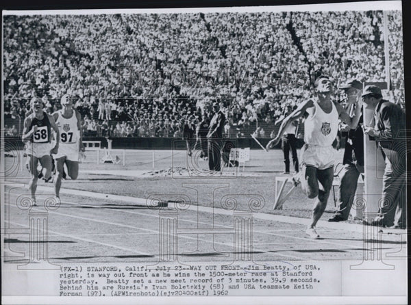 1962 Jim Beatty Wins 1500 Meter Race, Defeats Boletskiy and Forman - Historic Images