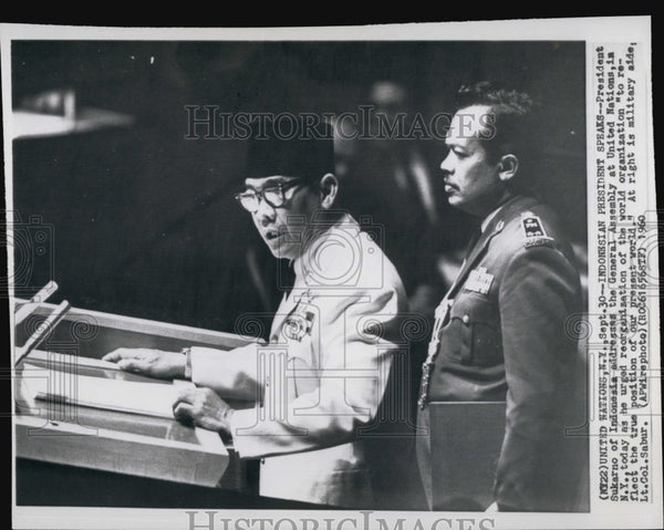 1960 Press Photo President Sukarno of Indonesia at the UN - Historic Images