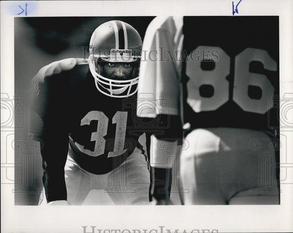 1985 Press Photo Mike Harden Denver Broncos Football Player At Training Practice - Historic Images