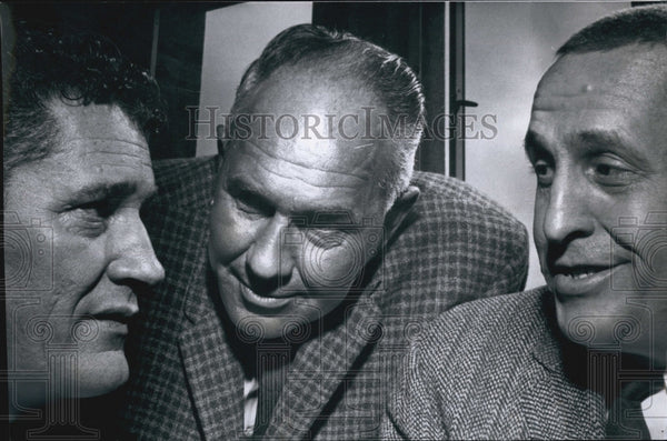 1961 Press Photo American Football Commissioner Joe Foss Met With Broncos Owners - Historic Images