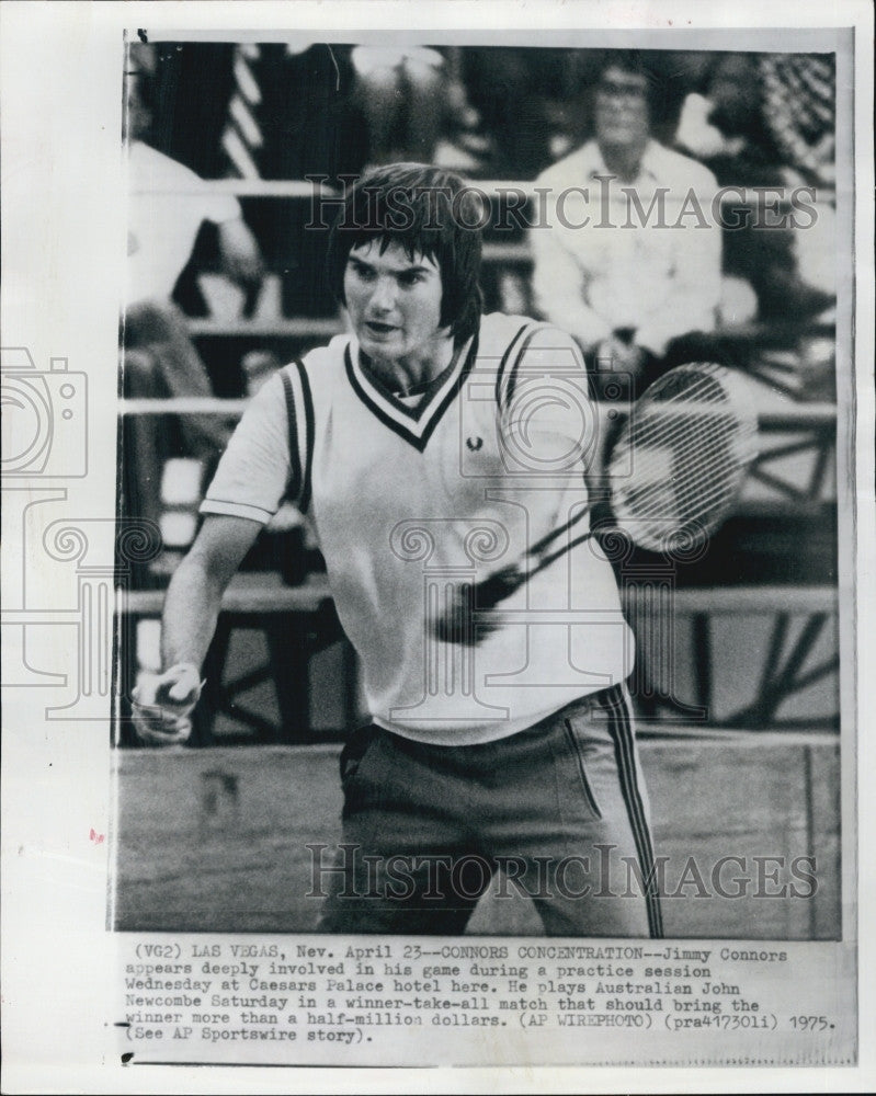 1975 Press Jimmy Connors Practices For Tennis Match Against